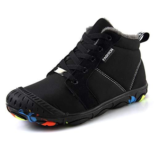 SCIEN Kids Snow Boots Boys Girls Winter Warm Outdoor Shoes Fur Lined Sneaker, Black 32 ()