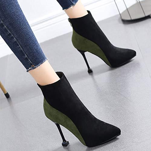 HRCxue Pumps Martin Stiefel Frauen Shorts Wildleder Farbe passenden High Heels weiblichen Stilett Spitzen Wilde sexy Stiefel