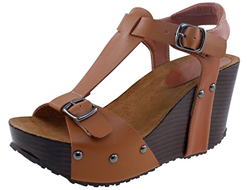 Cambridge Select Women's Open Toe T-Strap Buckled Ankle Studded Chunky Platform Wedge Sandal (5.5 B(M) US, Brown PU)