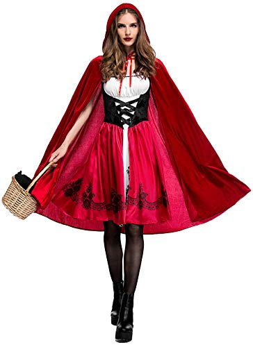 Red Riding Hood Costumes For Adults (Soyoekbt Women's Little Red Riding Hood Costume Halloween Cloak Cosplay)