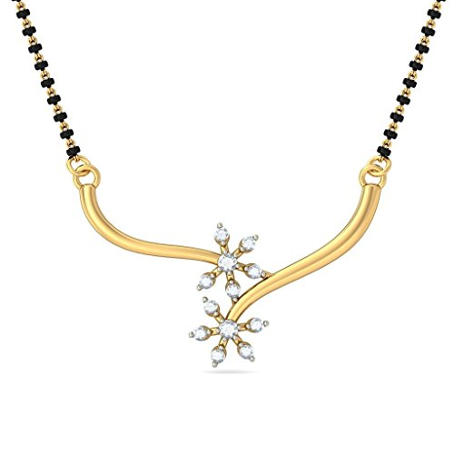 Or jaune 18 K 0,14 CT TW White-diamond (IJ | SI) Mangalsutra