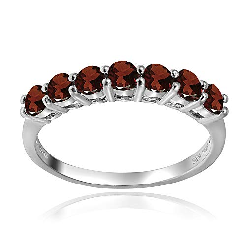 Sterling Silver African Garnet 3mm Thin Half Eternity Band Ring, Size 9