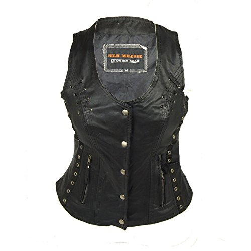 Ladies Naked Vest Leather - Ladies Lightweight Naked Goatskin Leather Vest with Grommets, Twill and Lace Highlights