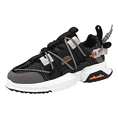 AUCDK Men Fashion Sneakers Splice Upper Shock Absorbing Sports Shoes with Non Slip Sole for Running and Training 7.5US Black