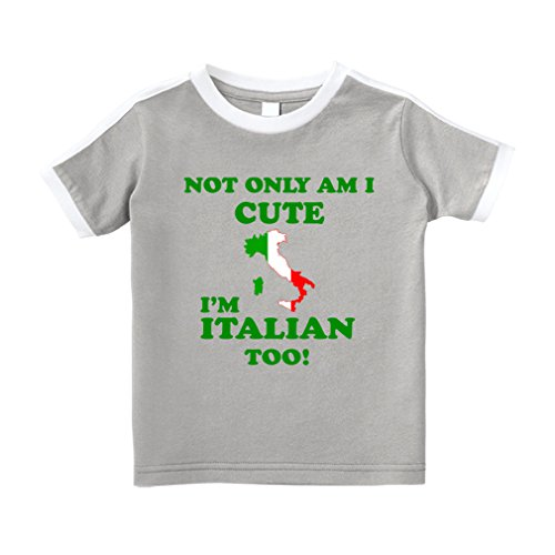 'm Italian Too Cotton Short Sleeve Crewneck Unisex Toddler T-Shirt Soccer Tee - Oxford Gray, 5/6T ()