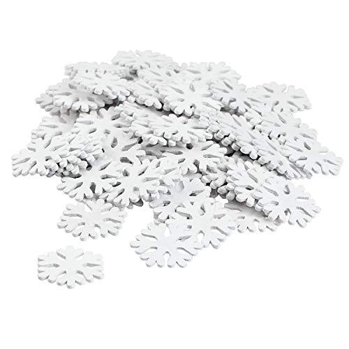 BinaryABC Christmas Decoration,Wooden White Snowflakes Ornaments,Snowflake Craft Supplies,100Pcs