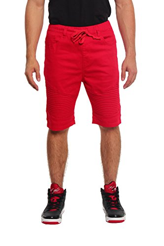 Victorious Biker Twill Jogger Shorts JS349 - RED - X-Large I1C
