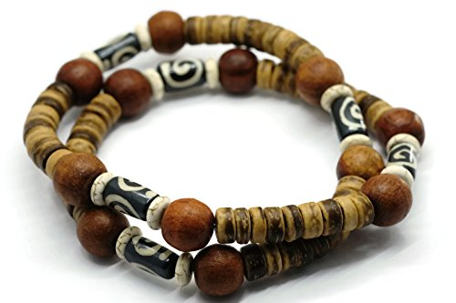 - BrownBeans, Wood Beads Tribal Surf Style Men's Choker Stretch Necklace (CNKT1000B) (A09-18.0)