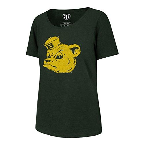 NCAA Baylor Bears Adult Women NCAA Women's Ots Slub Scoop Distressed Tee, X-Large, Dark Green -