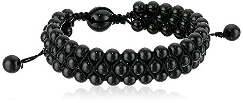Crucible Jewelry Mens Onyx Stone Beaded Triple Row Adjustable Bracelet (16.5mm Wide), Black, One Size