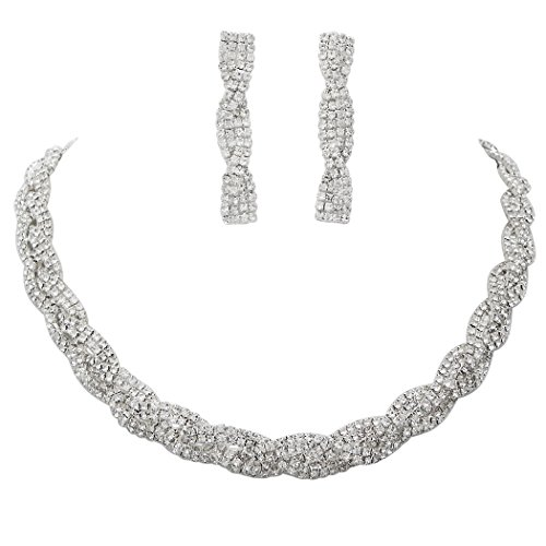 Rosemarie Collections Women's Braided Rhinestone Collar Necklace Drop Earrings Set - David Dangle Costume Designer