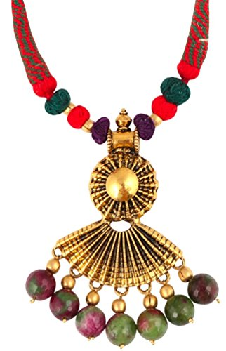 Sansar India Peacock Beads Golden Pendant Indian Necklace Jewelry for Girls and Women