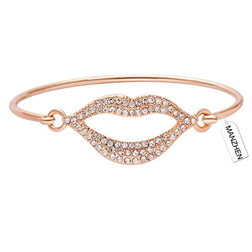 MANZHEN Easy Open Delicate Clear Full Rhinestone Lip Hook Bangle Bracelet for Women (rose gold)