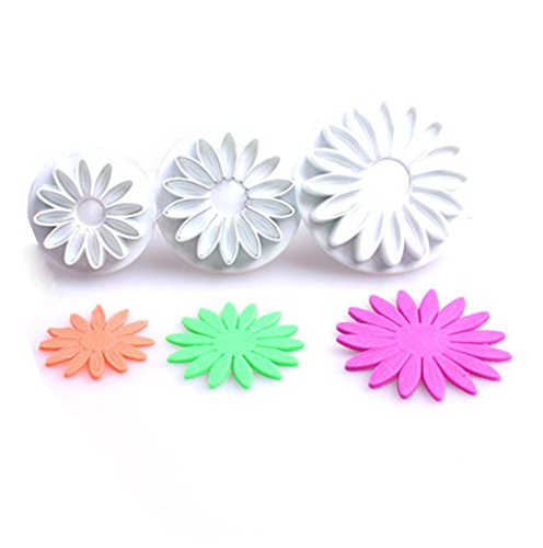 Veined Sunflower Daisy Gerbera Flowers Plunger Cookie Cutter Set of 3 Piece Plastic Biscuit Mold Cupcake Decorating Fondant Embossing Tools Party Supplies Decorations