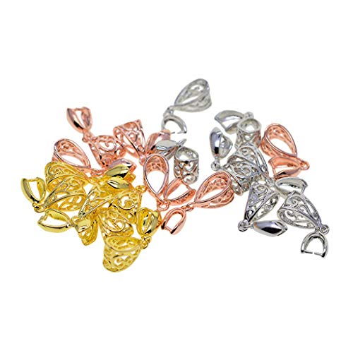 Baosity 18Pcs, 3 Mixed Color Pinch Bails Clasp Connectors for Pendant Making, Exquisite Jewelry Findings - Gold, Rose Gold & Platinum (1.02 x 0.35 x 0.28)