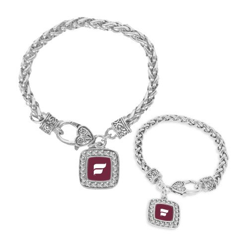 Studded Scroll (Fairmont State Silver Braided Rope Bracelet With Crystal Studded Square Pendant 'F-Scroll')