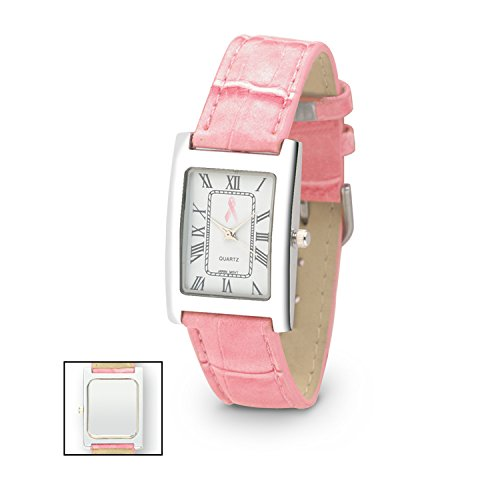 Embossed Pink Croco Strap Watch, Pink Breast Cancer Awareness Ribbon on White Face, Pink (Mini Embossed Croco)
