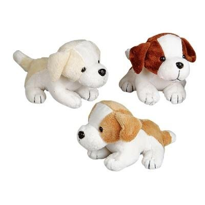 6'' Assorted Color Adorable Plush Puppy Dogs (12-Pack) by Rhode Island Novelty