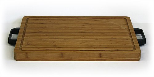 Simply Bamboo Carving, Chopping and Serving Board with Artisan-Crafted Heavy Duty Handles, X-Large, 19.625'' L x 15.75'' W