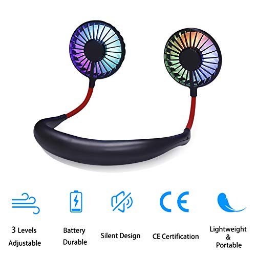 Portable Mini Fan Headphone Design Wearable Neckband Fan Dual Wind Head Internal LED Light 360 Degree Free Rotation 3 Speeds Adjustable with Aromatherapy Boxes for Sports Office Traveling Camping