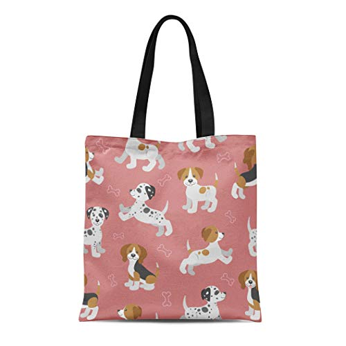 Semtomn Cotton Canvas Tote Bag Dog Funny Puppies Beagle Dalmatian Jack Russell Terrier Pattern Reusable Shoulder Grocery Shopping Bags Handbag Printed