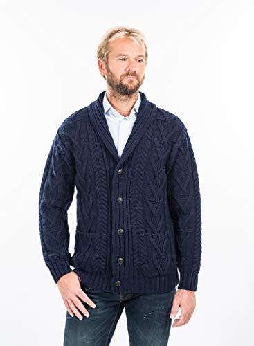 (Mens Aran Cable Shawl-Collar Cardigan (Navy, Large))