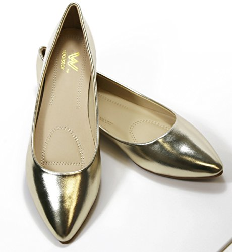 Toe Toe Walstar Point Metallic Flats Womens Flats Point Basic Walstar Womens Ballet Gold Basic Ballet vdBqvwUA