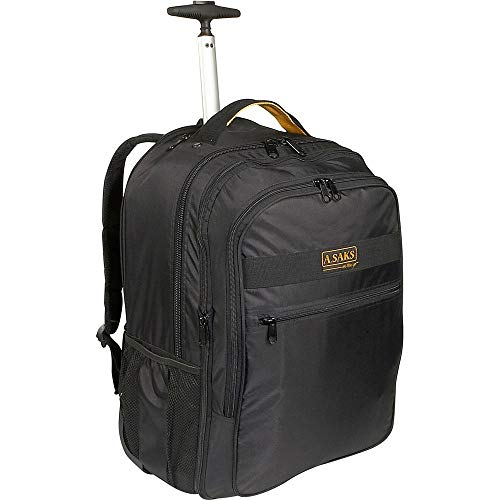 Briefcase Leather Expandable Deluxe - A.Saks Deluxe Expandable Wheeled Nylon Computer Backpack in Black