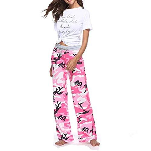 Pink Camouflage Pants - COSYOU Women Plus Size Camouflage Printed Drawstring Trousers Korean Autumn Streetwear Pants (Pink Camouflage, 2XL)