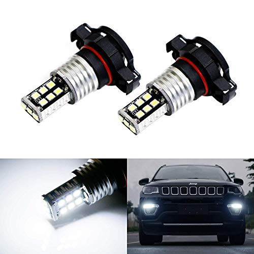 iJDMTOY (2) Xenon White 15-SMD High Power LED Replacement Bulbs For 2017-up Jeep Compass Daytime Running Lights (Jeep Bulb Compass)