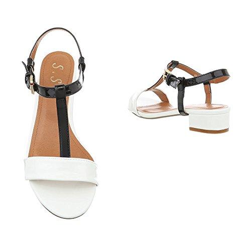 Ital-Design Riemchensandalen Damenschuhe Riemchensandalen Blockabsatz Moderne Schnalle Sandalen & Sandaletten Weiß Schwarz OD-4