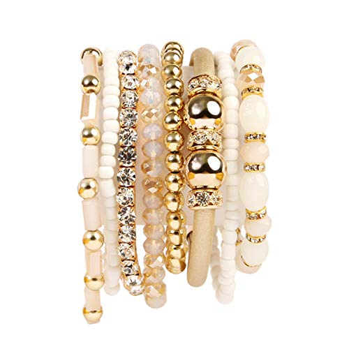 RIAH FASHION Multi Layer Strand Sparkly Stack Bracelets - Rhinestone Crystal Colorful Beaded Statement Stretch Adjustable Bangle Set (Leatherette Mix - Natural)