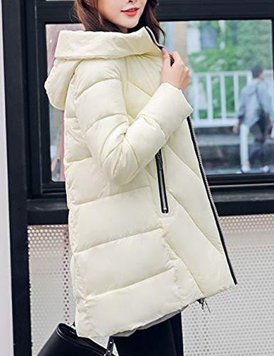 Slim Cappuccio Zhhlaixing Moda Caldo Invernale Spesso Da Piumino Trapuntata Parka Zipper E Giacca White Con Donna Ultraleggeri 4w7SRqw