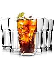Drinking Glasses Set of 6-12oz - Tumbler Highball Glasses Clear Iced Tea Glasses for Drinking Water, Cocktail, Juice, Milkshake, Coke, Soda
