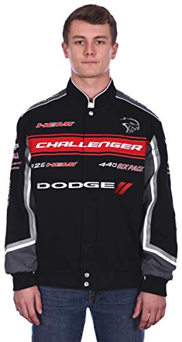 Mens Dodge Challenger Embroidered Cotton Twill Jacket (Large, Black)