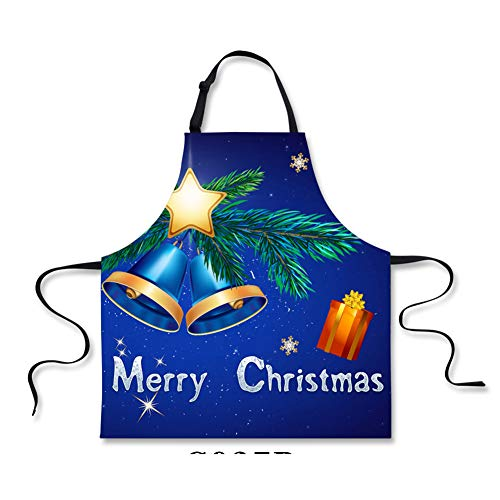 n Cooking Aprons for Women Girls Blue Jingle Bell Printing BBQ Aprons-Merry Christmas ()