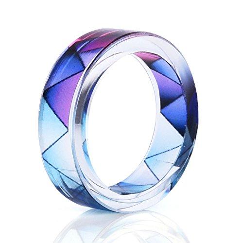 - Handmade Resin Rings Serrated Pattern Women's Romantic Engagement Wedding Promise Bands Size 11