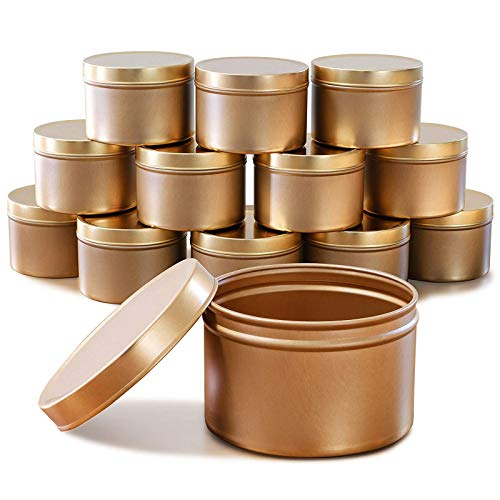 Candle Tins-12 Pack-8 oz Empty Candle Jars with Lids - 3-Inch Seamless Decorative Gold Metal Containers for DIY Candle Making,Arts & Crafts Supplies