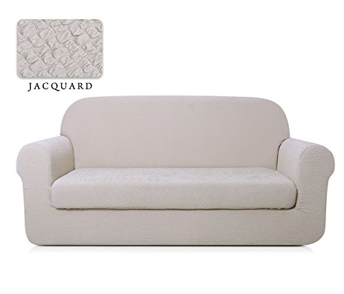TOYABR 2-PieceSeersucker JacquardStretchyFabricDinning Room SofaSlipcoversFittedSofaProtector (Loveseat, Cream Ivory)