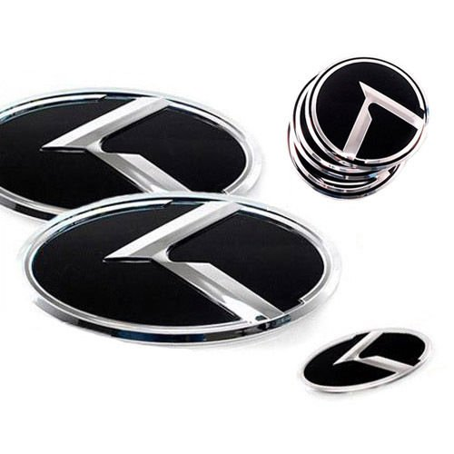 ZEO Front Rear Grill Trunk Steering Wheel Center Hub Cap K Logo Emblem 7-pc Set For 2011 2012 2013 2014 Kia Sportage