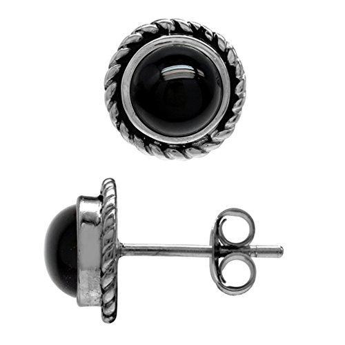 (6MM Genuine Round Shape Black Onyx 925 Sterling Silver Rope Stud Earrings)