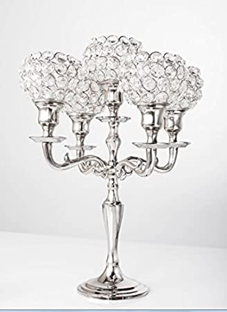 Amazon 5 arm crystal candelabra wedding centerpieces 5 arm crystal candelabra wedding centerpieces chandeliers votive candle holders 35cm junglespirit Gallery