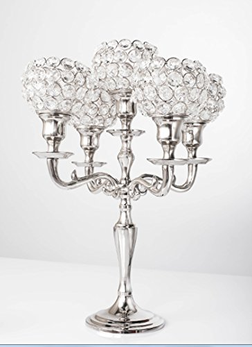Simcs Handicrafts 14 Inch Small 5 Arm Silver Crystal Ball Candelabra Votive Candle Holders for Home Decoration Wedding Party Centerpieces Valentine Mother's Day