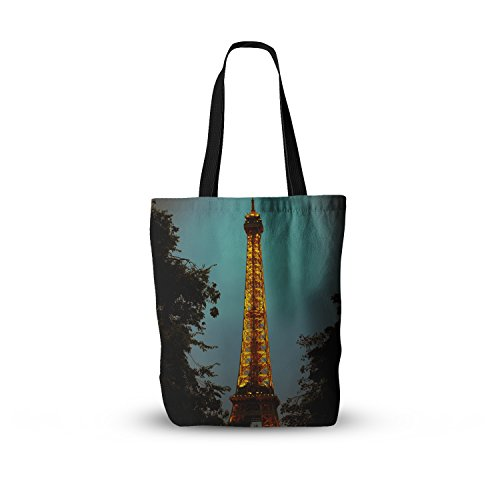 KESS InHouse Everything Tote Bag 13 Inch x 13 Inch Ann Barnes Tour Eiffel Blue Gold, Multicolor (Bags Eiffel Tour)