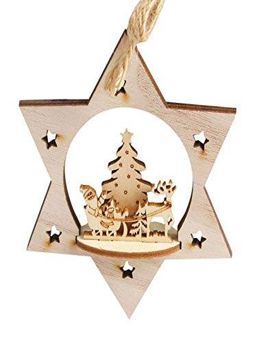 Clearance!!BingYELH Christmas Tree Snowman Snowflake Reindeer Hanging Ornaments Star Wood Gift Tags Crafts Wood Slices Xmas Decorations (B) ()