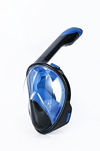 norkel mask Underwater Snorkel Set Full face breathing Diving Mask with Anti-fog and Anti-leak Technology fits for all swim newbies and diving lovers (blue and black, L-XL)