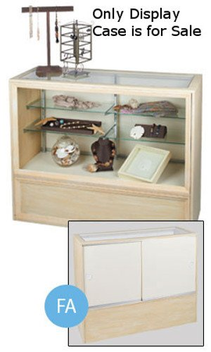 Two Glass Shelves Antique White Full Vision Display Case 38â€H x 18â€D x 48â€L ()