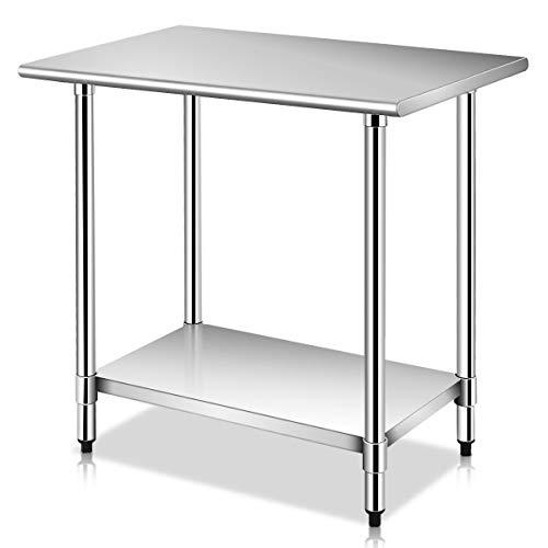 Goplus Stainless Steel Work Table Prep Work Table for Commercial Kitchen Restaurant (24