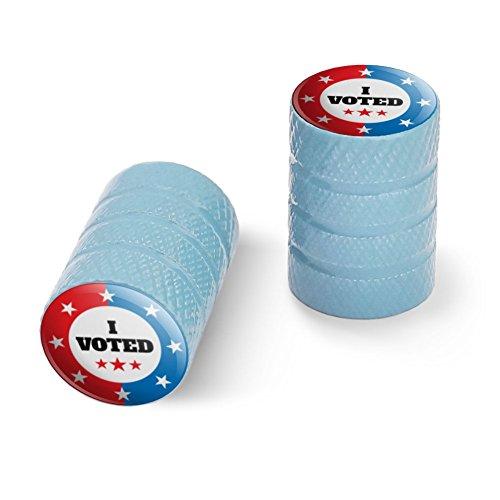 私は赤い白青愛国に投票しましたオートバイ自転車バイクタイヤリムホイールアルミバルブステムキャップ - ライトブルー
