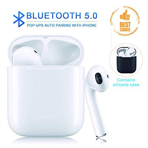 Bluetooth Headset, Wireless Earbuds, 4D Stereo, 24 Hour Playback time, IPX5 Waterproof, Noise Canceling Sports Headphones. Suitable for iPhone/Android/Airpods/airpod/Apple earplugs